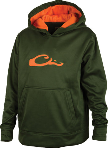 Drake - Youth Performance Hoodie - Green/Orange