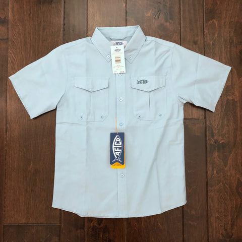 AFTCO - Boys Rangle SS Fishing Shirt Woven - Sky Blue