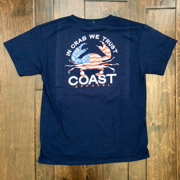 Coast Apparel - Youth SS In Crab We Trust - Navy
