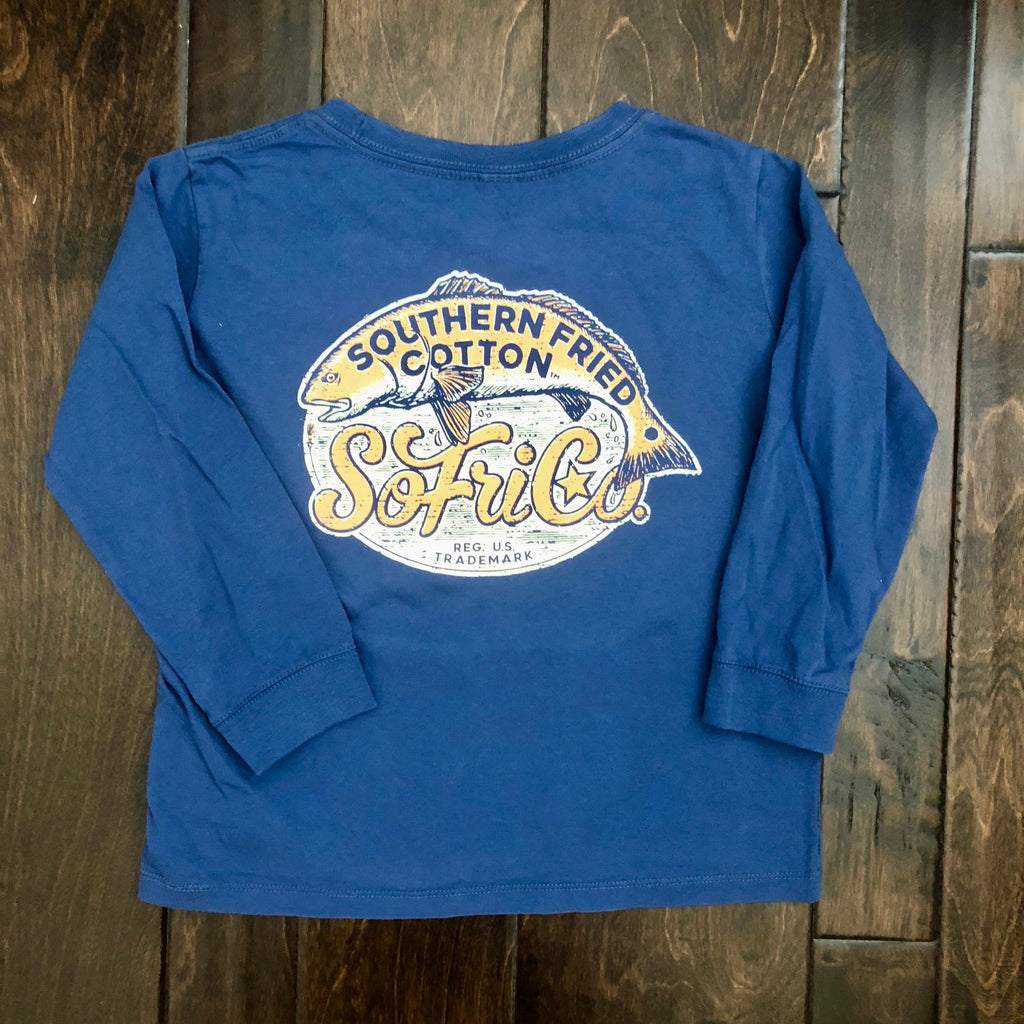 Southern Fried Cotton - Toddler LS Southern Salt Tail Tee - Summer Shadow