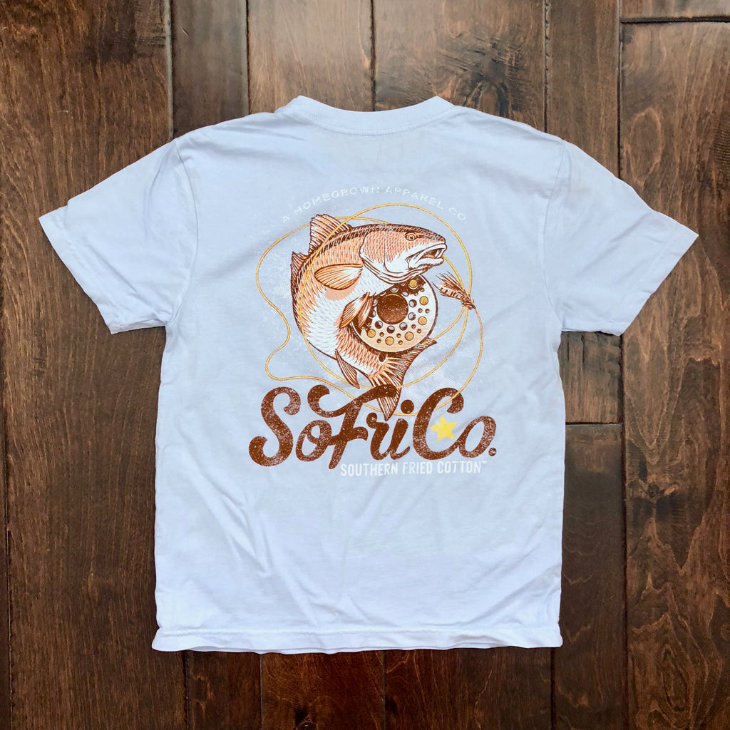 Southern Fried Cotton - Youth SS On the Fly Tee - Southern Sky