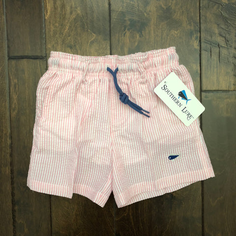 Southern Lure - Youth and Toddler Seersucker Swim Shorts - Coral Pink
