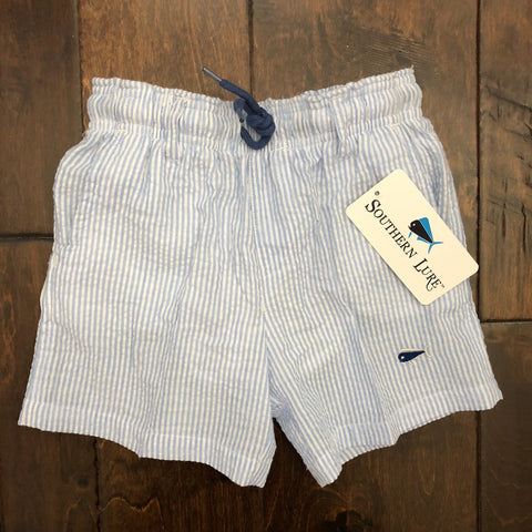 Southern Lure - Youth and Toddler Seersucker Swim Shorts - Bay Blue