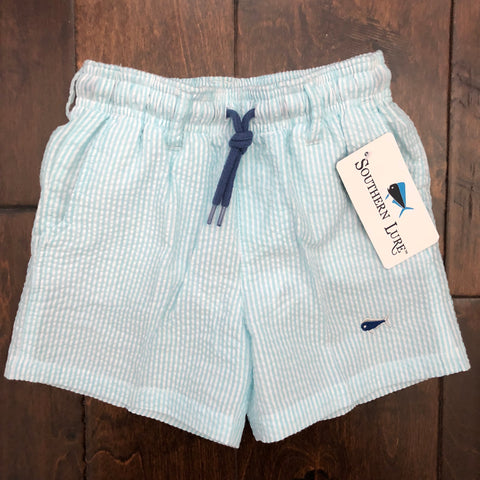 Southern Lure - Toddler Seersucker Swim Shorts - Seafoam