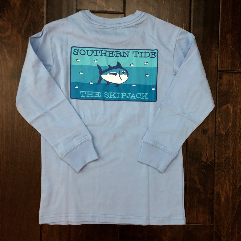 Southern Tide - Youth LS Skipjack Gradient Tee - Vista Blue