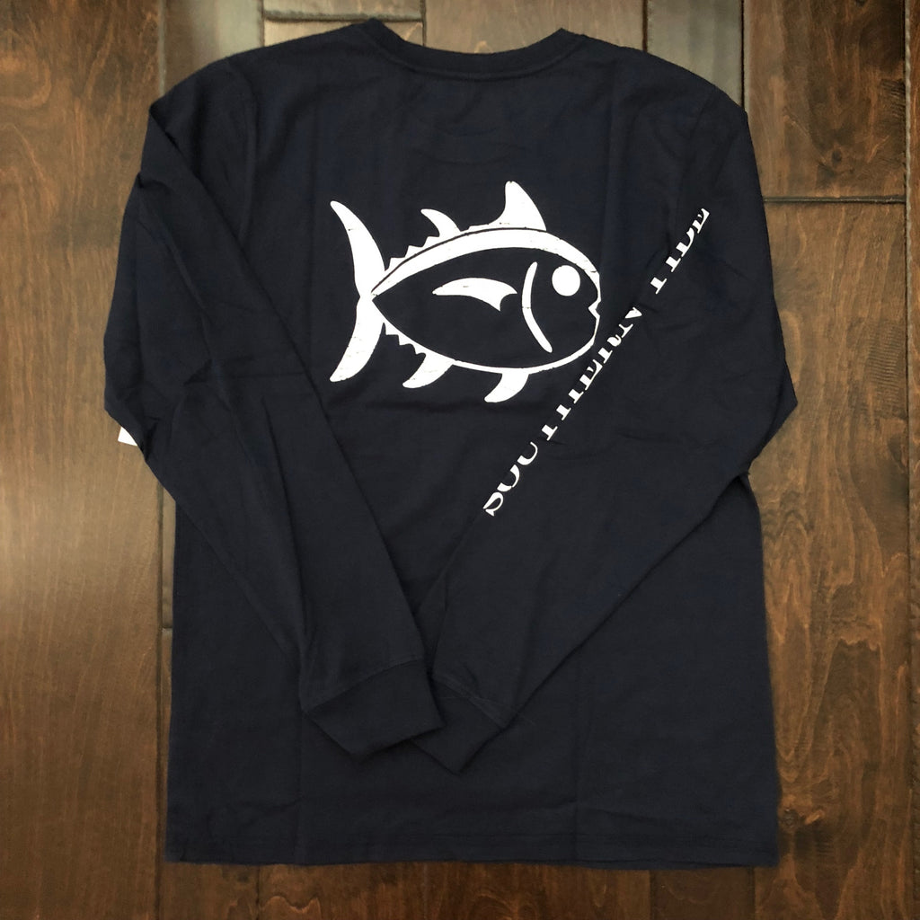 Southern Tide - Youth LS Outline Skipjack Tee - True Navy