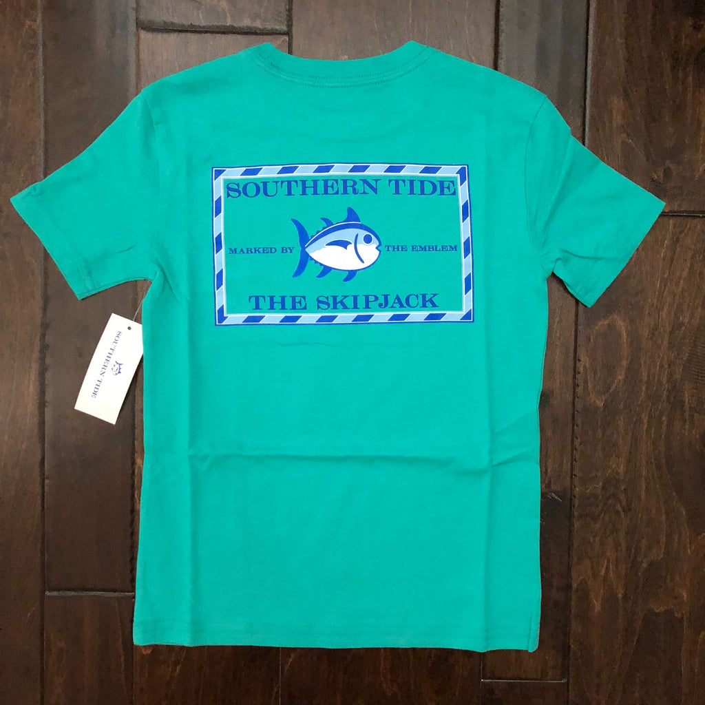 Southern Tide - Youth' SS Classic Skipjack T-Shirt - Tropical Palm Green
