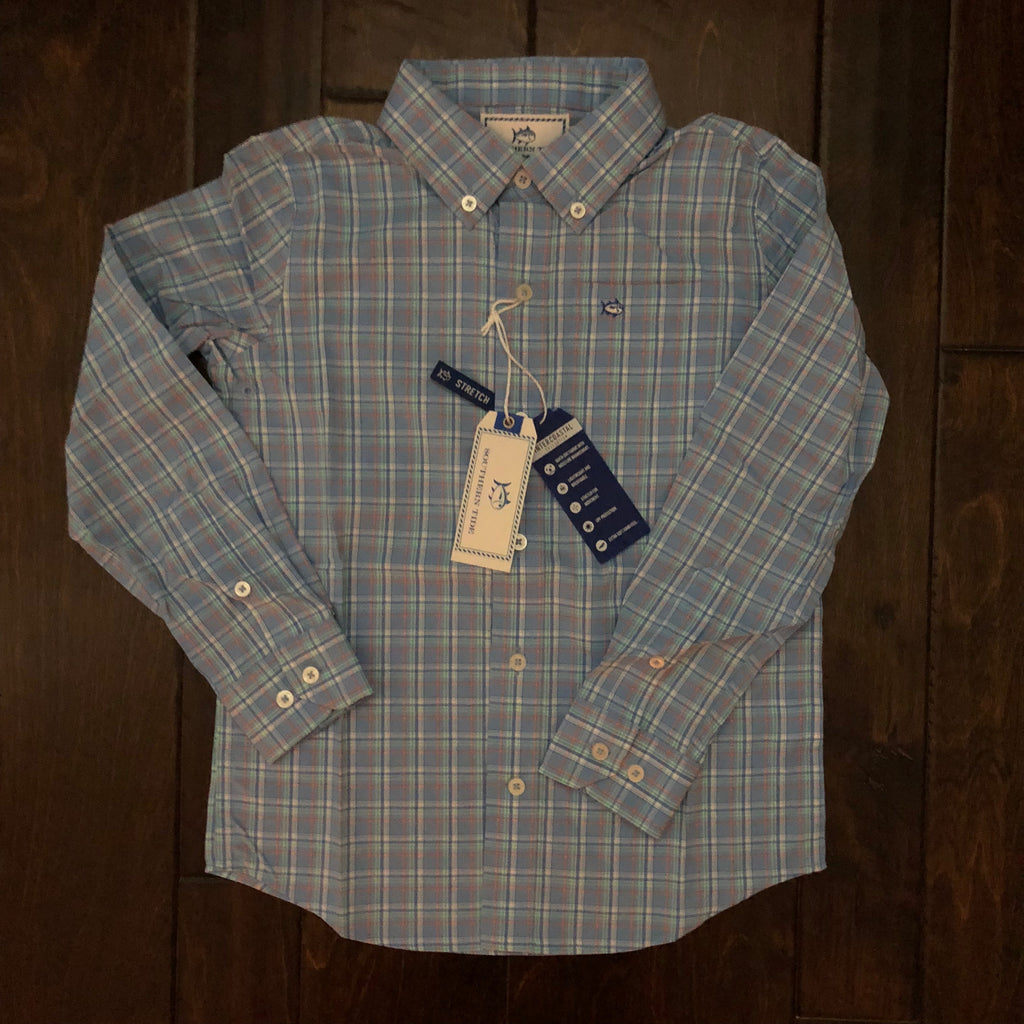 Southern Tide - Boys' Watersedge Plaid Sport Shirt - Ocean Channel