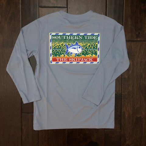 Southern Tide - Kids' Slam Brook Trout Performance Tee - Tsunami Grey