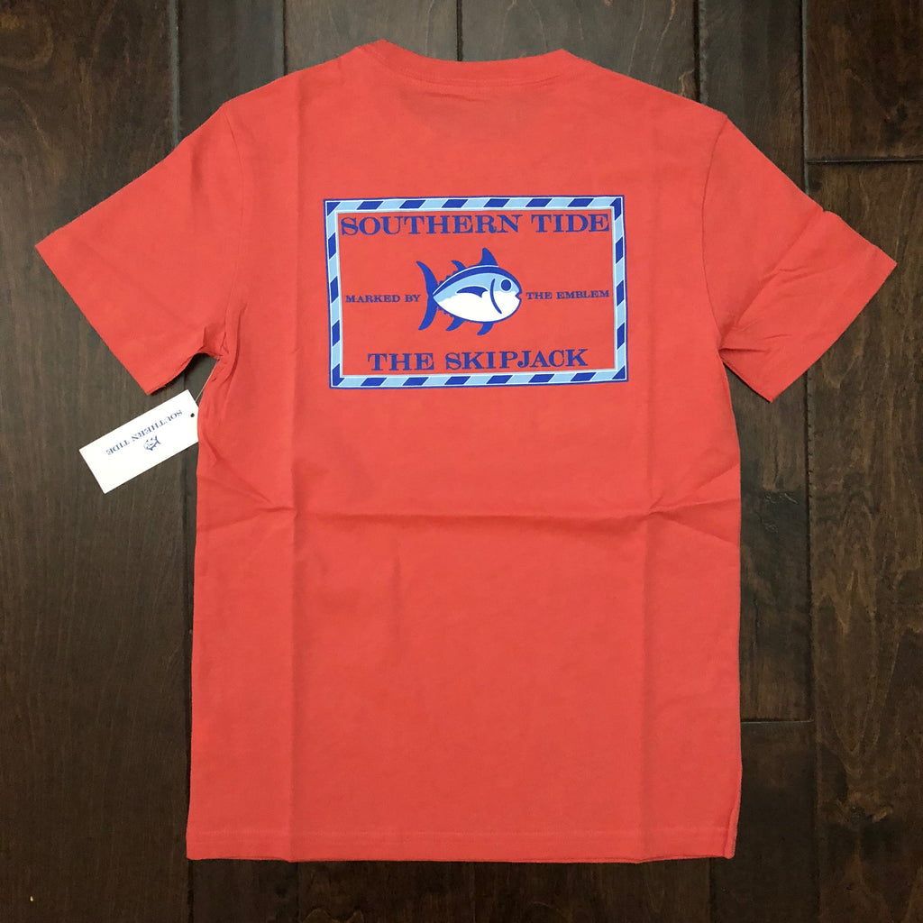 Southern Tide - Youth' SS Classic Skipjack T-Shirt - Sea Coral