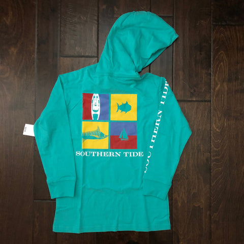 Southern Tide - LS Nautical Flags Hoodie Tee - Tropical Palm Green