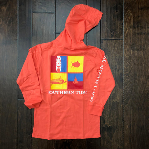 Southern Tide - LS Nautical Flags Hoodie Tee - Hot Coral