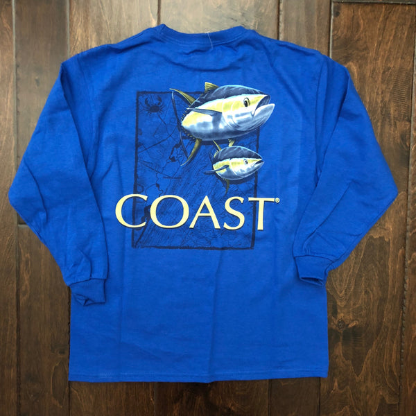 Coast Apparel - Youth LS Coast with Tuna Map - Royal