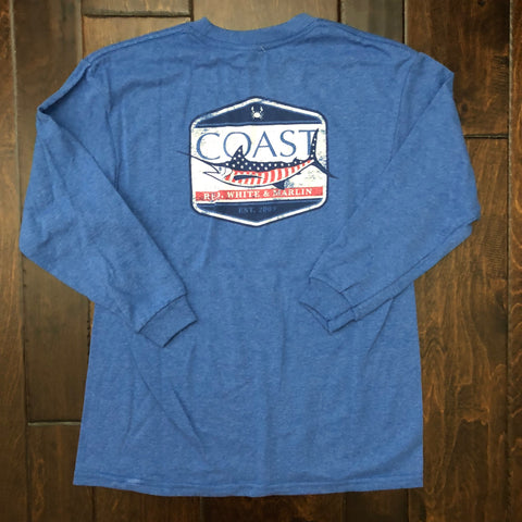 Coast Apparel - Youth LS Marlin Flag Tee - Royal Heather
