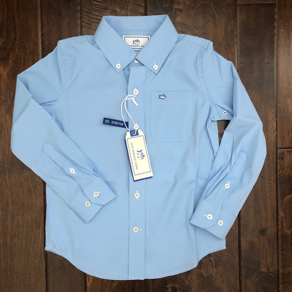 Southern Tide - Boys' Solid Intercoastal Sportshirt - Ocean Channel
