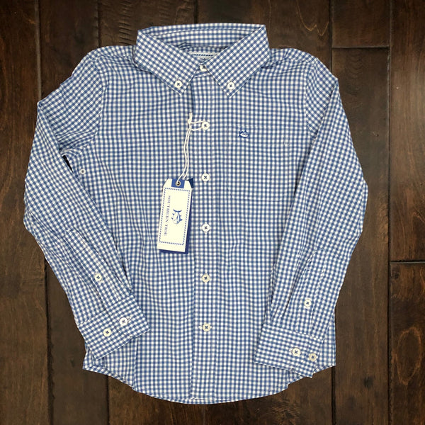 Southern Tide - Boys' Gingham Intercoastal Sportshirt - Dutch Blue