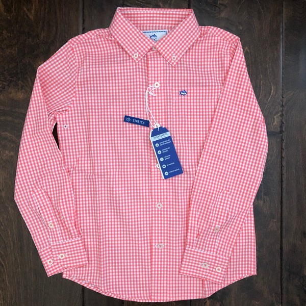 Southern Tide - Boys' Gingham Intercoastal Sportshirt - Georgia Peach