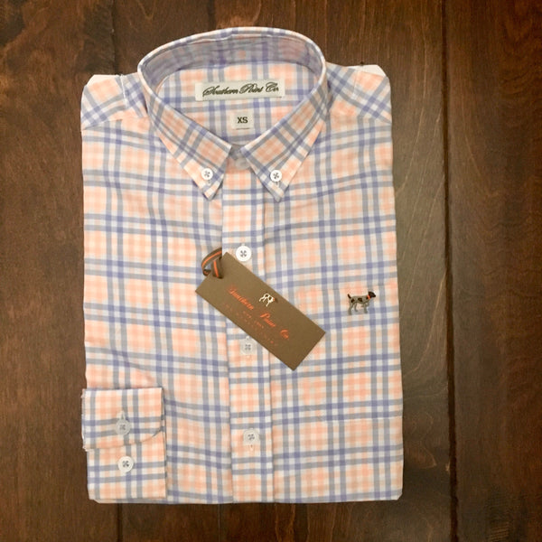 Southern Point - Youth Hadley Button Down - Tangerine/Sky Blue