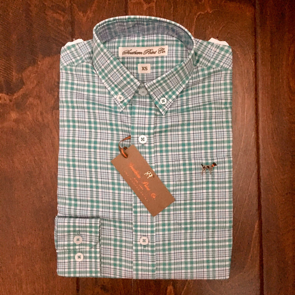 Southern Point - Youth Hadley Button Down - Teal/Navy