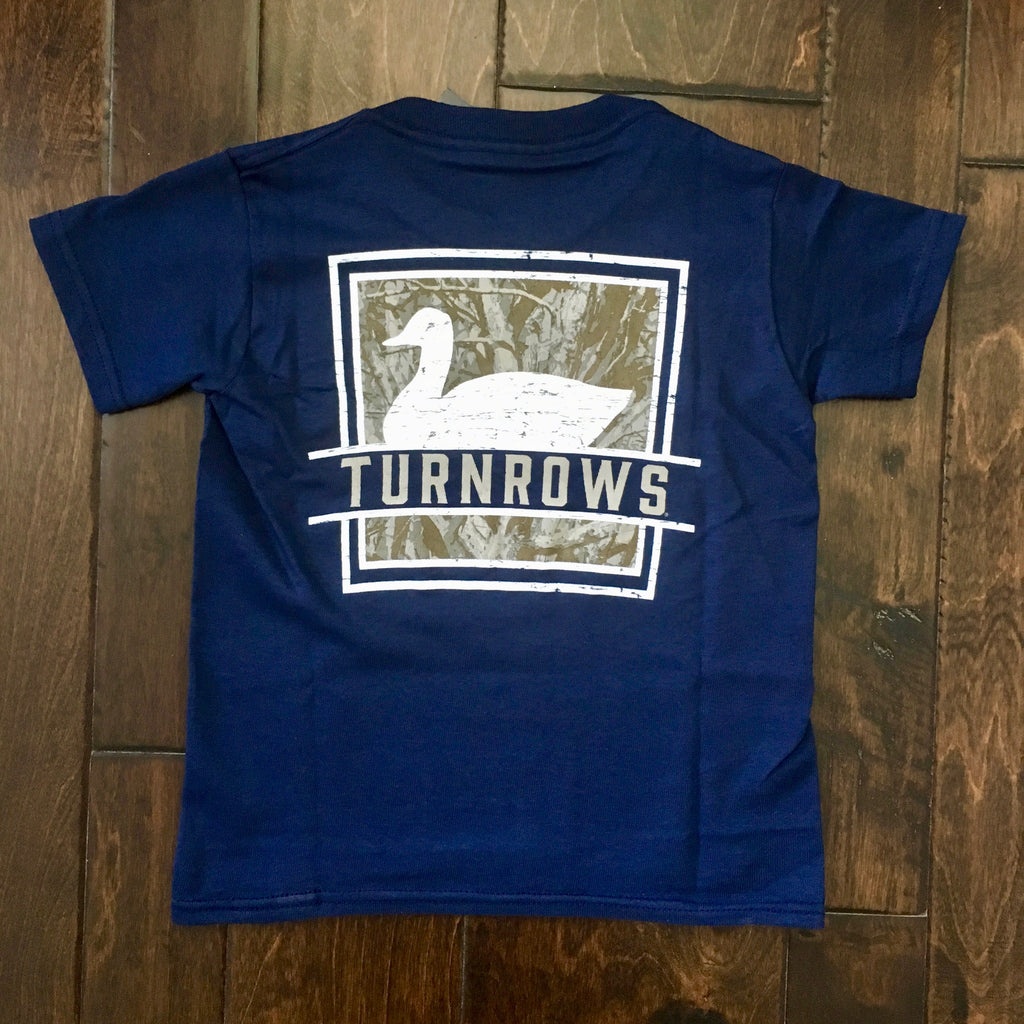 Turnrows - Camo Duck Youth SS Tee - Navy