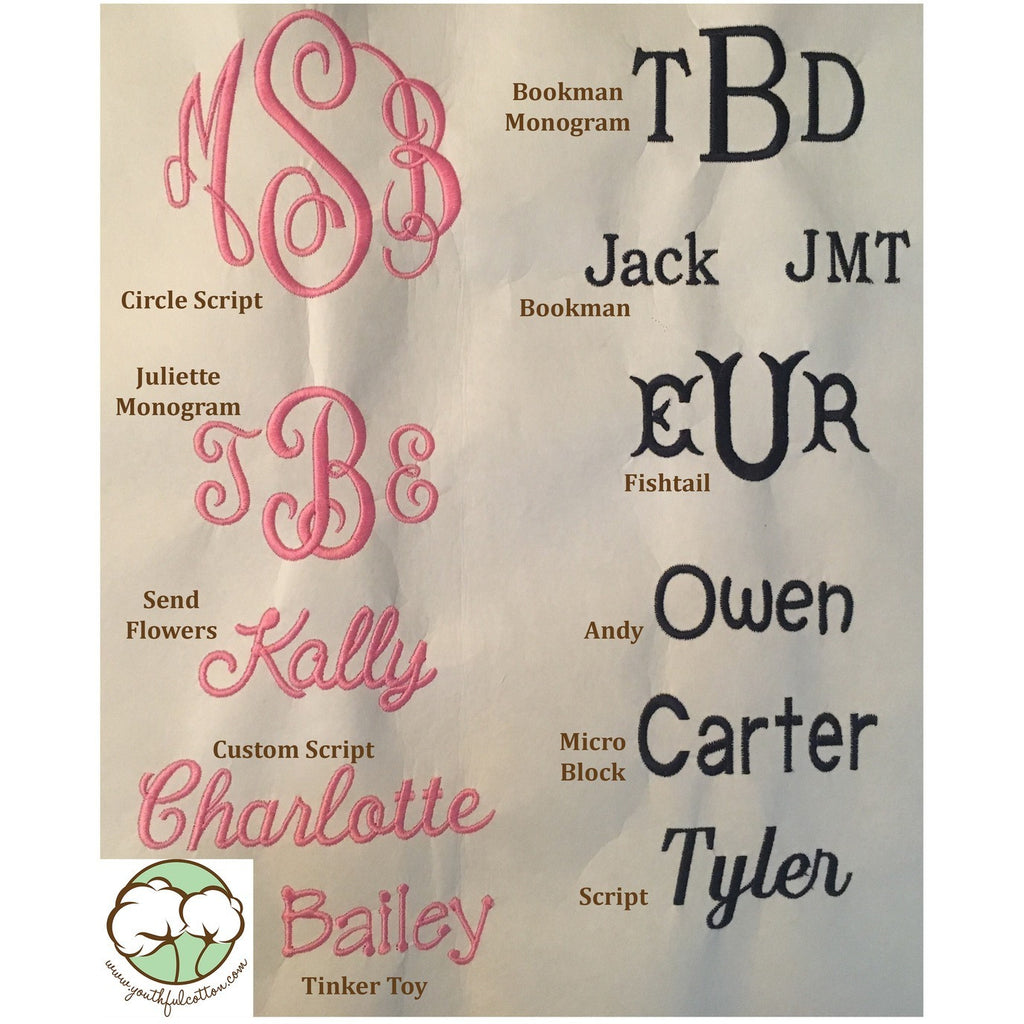 Youthful Cotton Monogramming Fonts