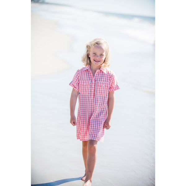 Prodoh - Coral Gingham Short Sleeve Dress UPF 20+