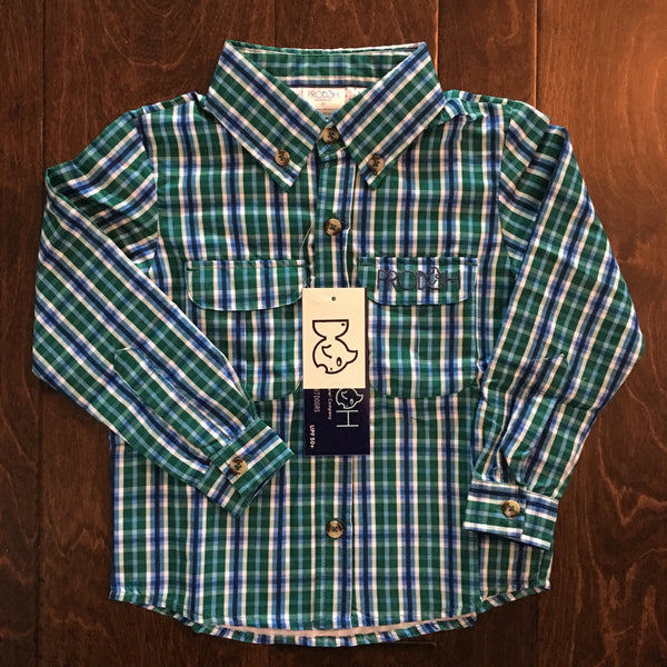 Prodoh - Plaid Forest Green Solid Sun Protective Shirt