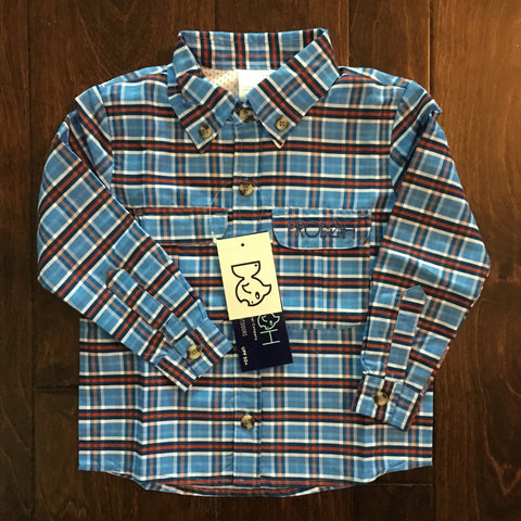 Prodoh - Plaid Conflower Blue Solid Sun Protective Shirt