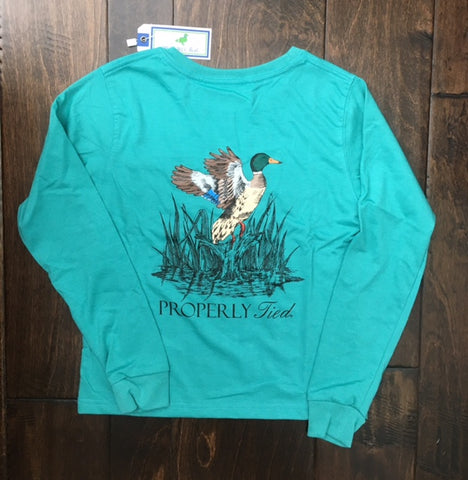 Properly Tied - Breaking Water LS Shirt - Teal
