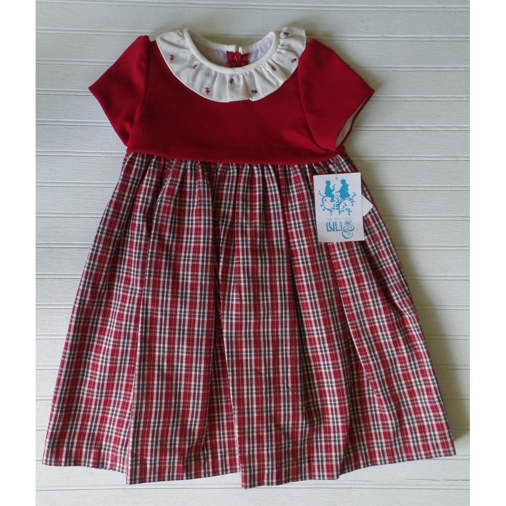 Luli & Me - Red Check Baby Dress w/ Embroidery