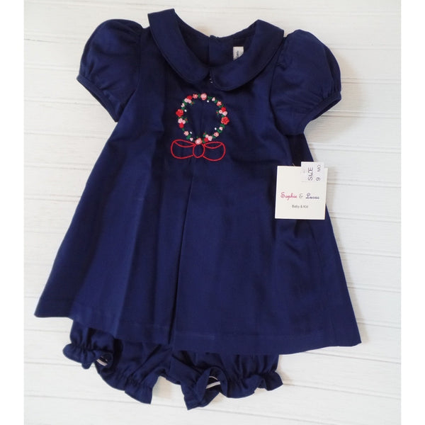 Sophie & Lucas - Navy Embroidery Dress w/ Bloomers
