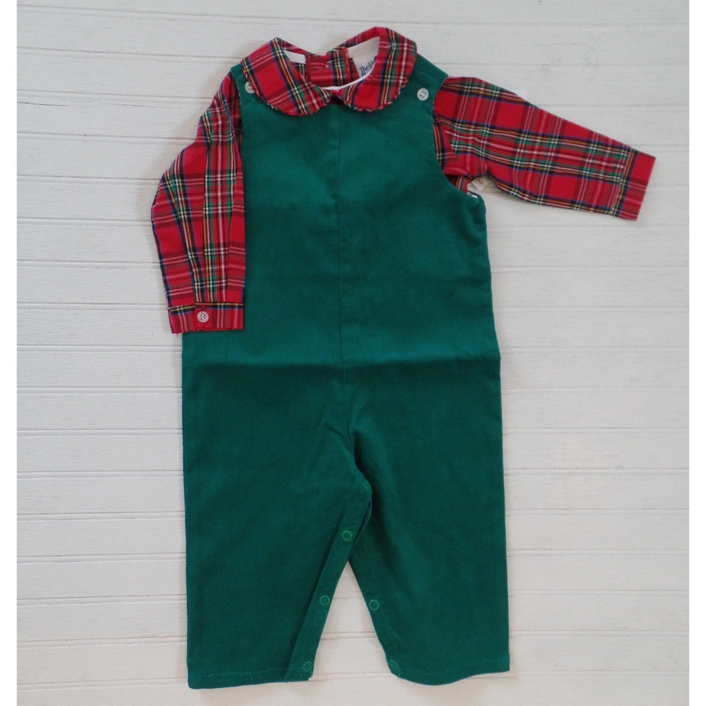 The Bailey Boys - Clover Green Corduroy John John & Tartan Plaid Piped Shirt