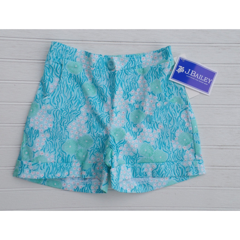 J Bailey by The Bailey Boys - Turquoise Daisy Scooter Shorts