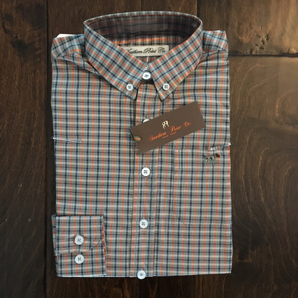 Southern Point Co - Youth Pumpkin Plaid Hadley Button Down