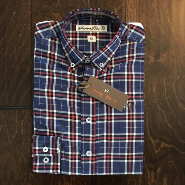 Southern Point Co - Youth Royal Plaid Hadley Button Down