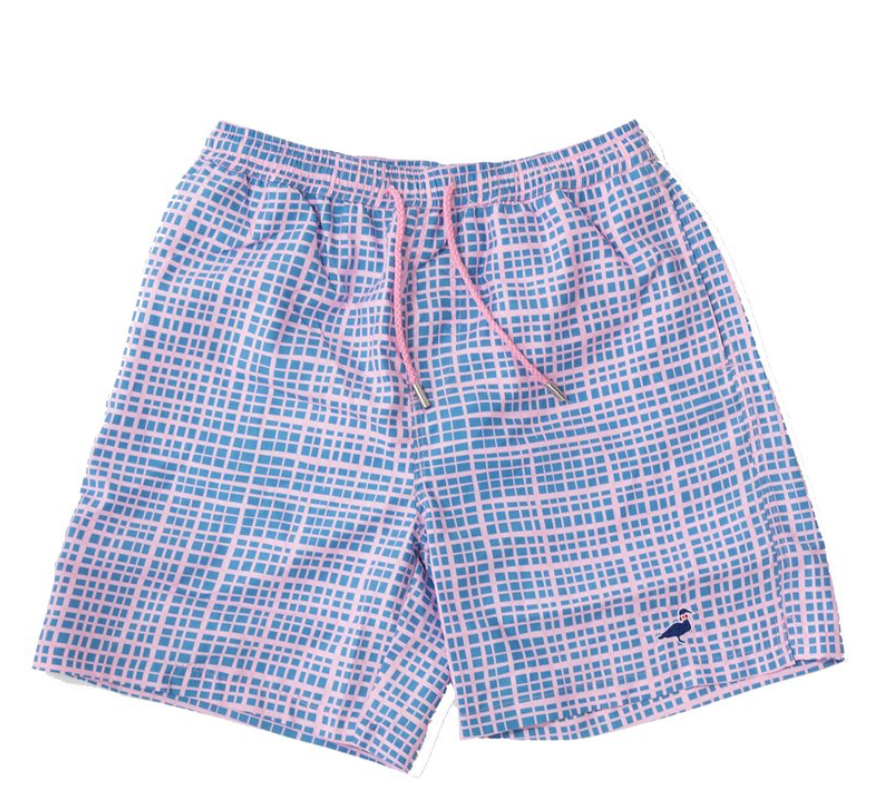 Properly Tied - Lil Ducklings Swim Shorts - Abstract Gingham