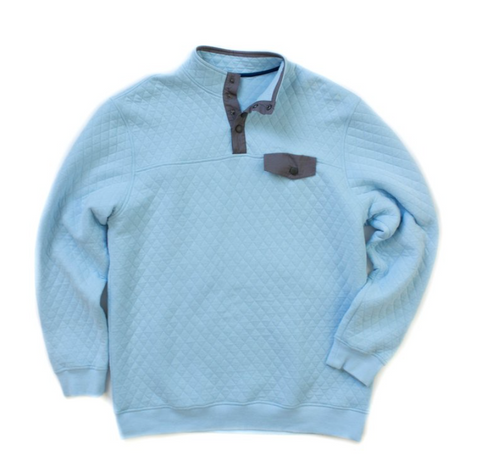 Properly Tied - Quilted Pullover - Light Blue