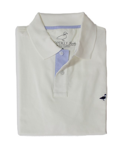 Properly Tied - Pique Polo - White