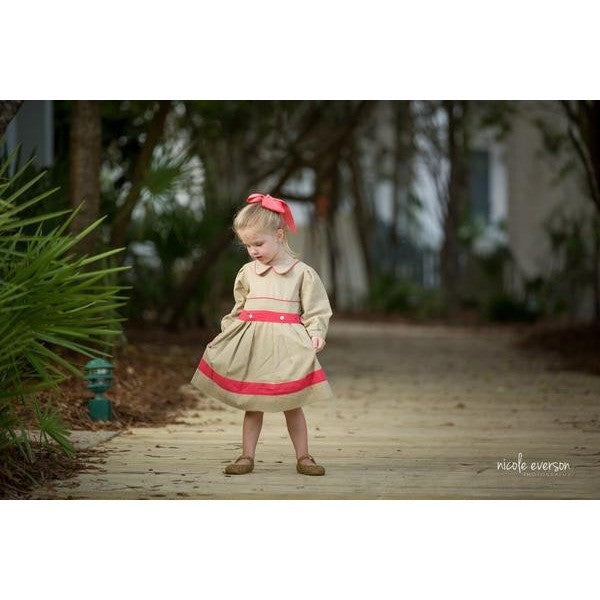 Oaks Apparel - Sophia Dress in Tan and Orange