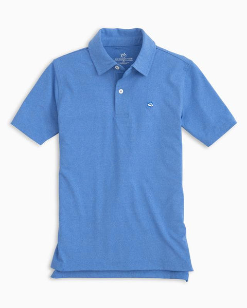 Southern Tide - Boys' Heathered Performance Polo - Heather Cobalt Blue