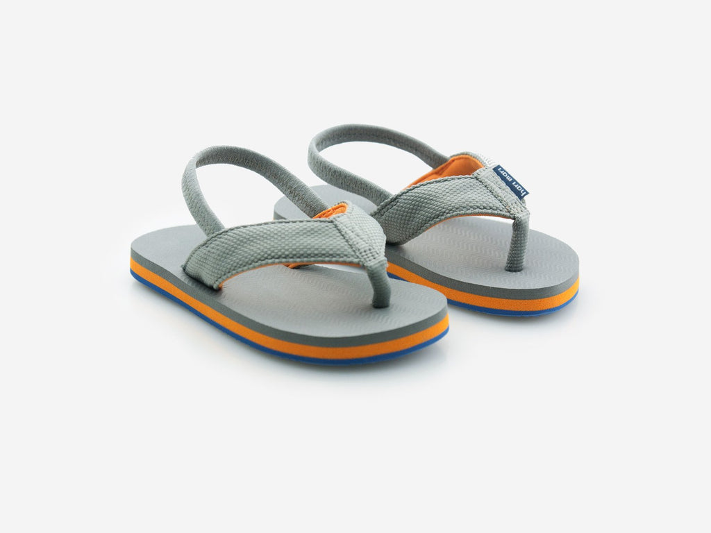 Hari Mari - Kids Dunes Flip Flops - Gray and Orange w/ Strap