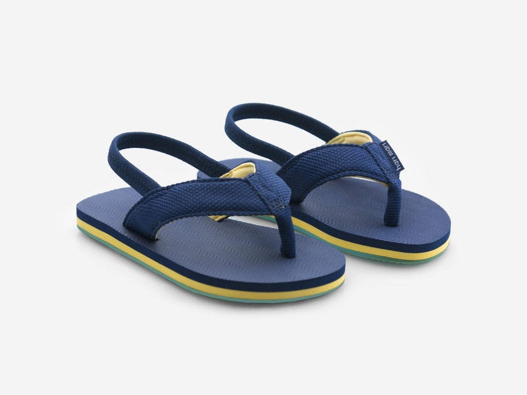 Hari Mari - Kids Dunes Flip Flops - Navy and Yellow w/ Strap