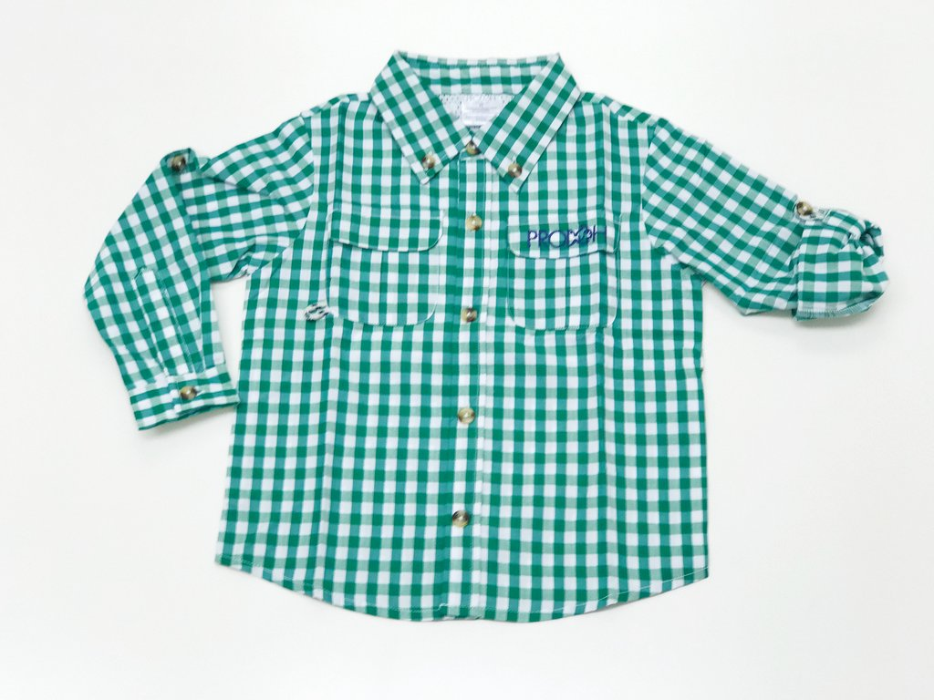 Prodoh gingham shirt forest green youthful cotton for Prodoh fishing shirts