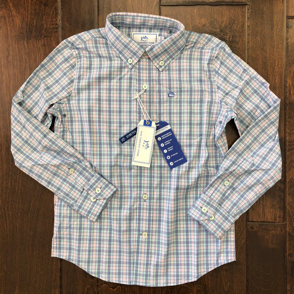 Southern Tide - Boys' Duneside Plaid Sport Shirt - Colony Blue