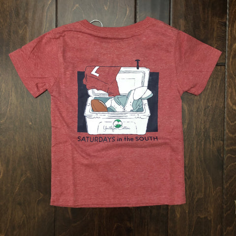 Youthful Cotton - Saturdays in the South SS Tee - Red Heather (Toddler, Youth, and Adult)