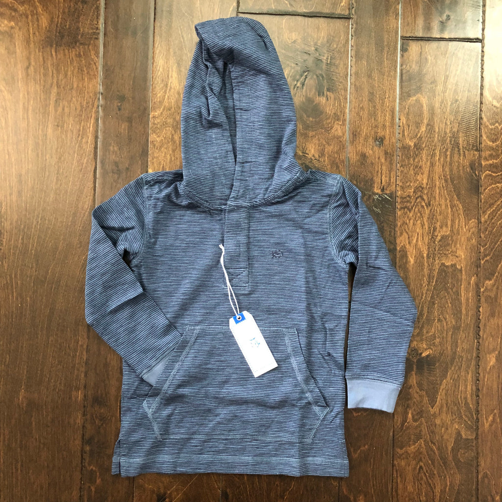 Southern Tide - LS Youth Gulf Stream Micro Stripe Hoodie - Light Indigo