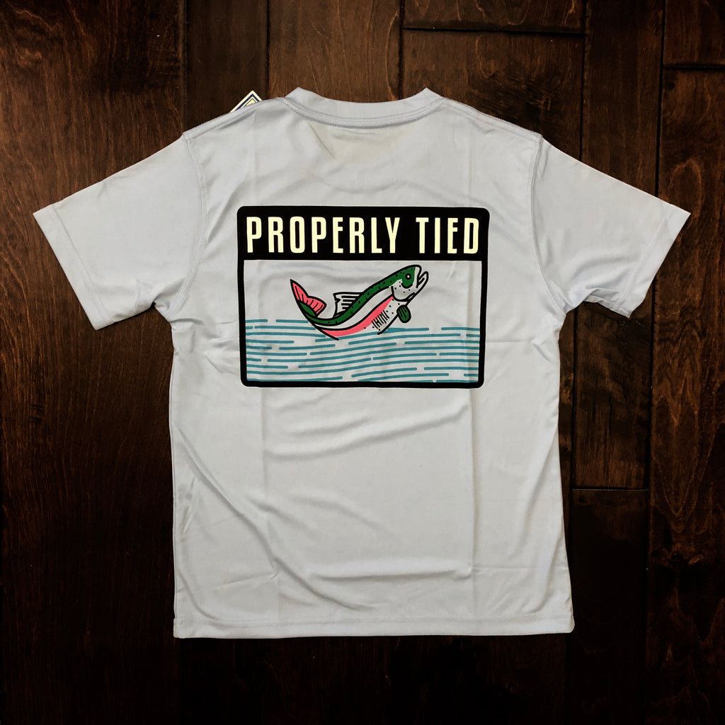 Properly Tied - Toddler and Youth Performance SS Trout Badge Tee - Light Blue