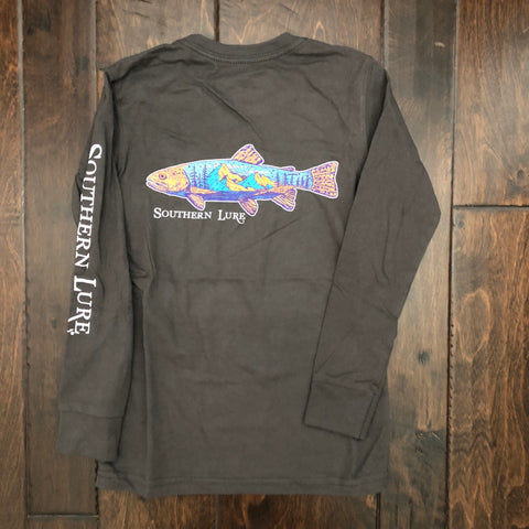 Southern Lure - Toddler & Youth LS Trout Mountain Tee - Pepper