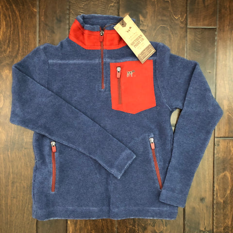 Southern Point Co - Youth Bennington Snap Pullover - Navy/Red