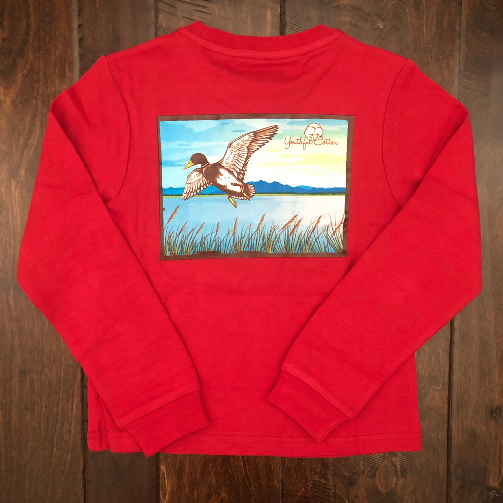 Youthful Cotton - Toddler, Youth, & Adult Soaring Duck LS Tee - Aged Garnet